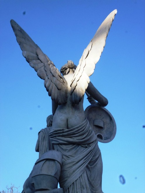 Nasty Prussian's fantasies, shot in the center of our Metropolis: Bumangel with wide spread wings and round cheeks...