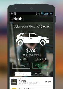 Welche Teil sind defekt und was kostet die Reparatur? Die Dash App gibt Auskunft.