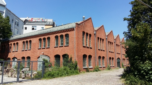... happily cycling along the Panke River, passing the old safe factory and go further North East...