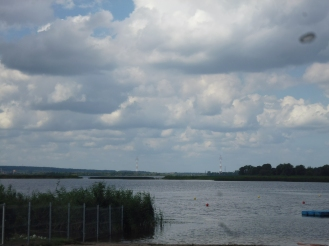 Leaving Szczecin Northbound: Water, fields, sky and clouds...