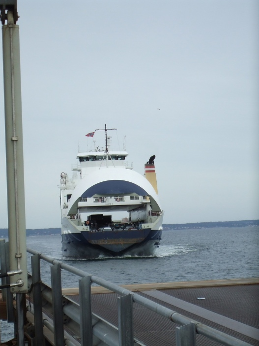 At the Horten ferry terminal, waiting for the boat to criss cross us over to Moss.