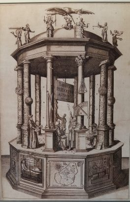 """A monument for Hven: The Cover of Keppler's """"Rudolphinische Tafeln"""" shows the Island of Hven as fundament of astronomy science"""